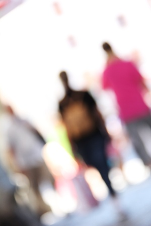 unrecognizable people: blurred unrecognizable people in motion in a shopping mall Stock Photo