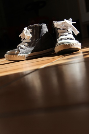 lacing sneakers: two little nice shoes with rubber for the children