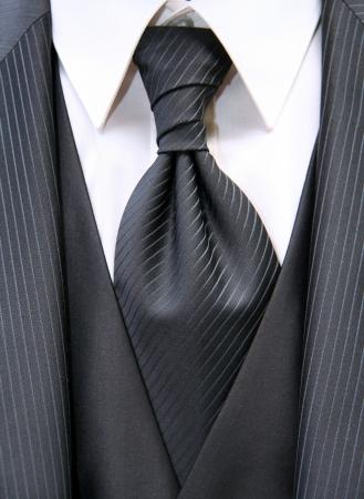 Belle cravate noire avec la suite d'un époux Banque d'images - 10686062