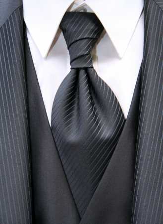 Beautiful black necktie with suite of a bridegroom