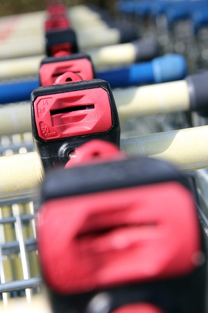 many shopping carts in a row are waiting for using photo