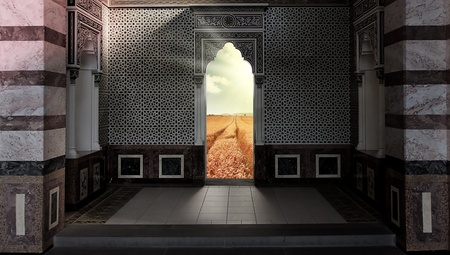 door out of the mosque into the paradise field photo