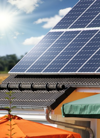 Housetop with solar  photo