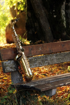old grungy saxophone in the nature in autumn Stock Photo