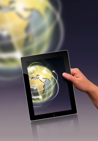 electronic book: working with a modern flat tablet pc