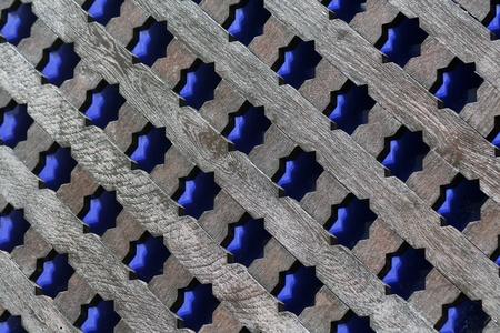 trellis: russian window with blue stars ornaments