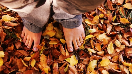 standing with bare foots in the autumn leaves photo