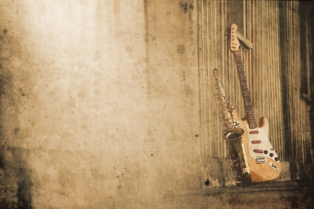 rock   roll: old grungy sax with electric guitar in retro look