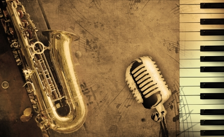 saxophone: dirty music background with piano and sepia Stock Photo