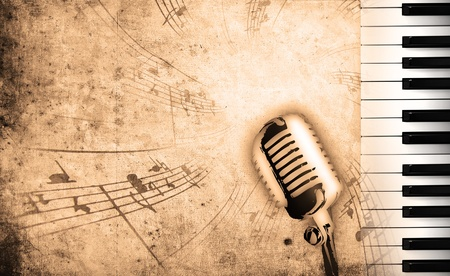 dirty music background with piano and sepia Stock Photo