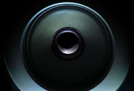 close up of a dark loudspeaker with light effect Stock Photo - 11168380