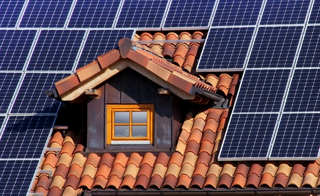 solar on the roof with dormer and tiles photo