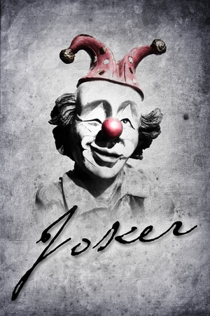 old funny clown in retro design look photo