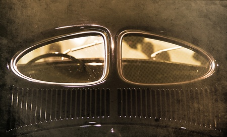 rear end: devided window on the rear of an classic car Stock Photo