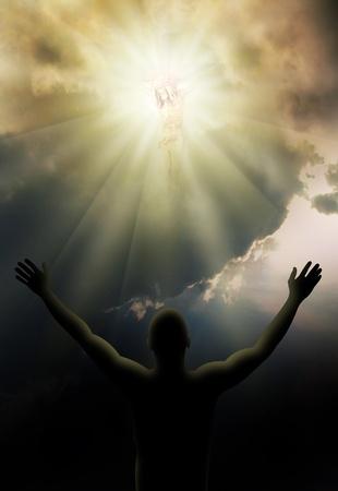 영광: 밝은 빛의 십자가에 예수 그리스도