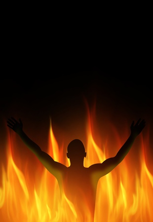 Human person must burn in the fire photo