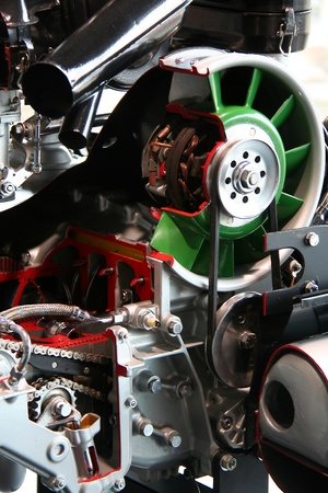 details of a powerful racing car engine photo