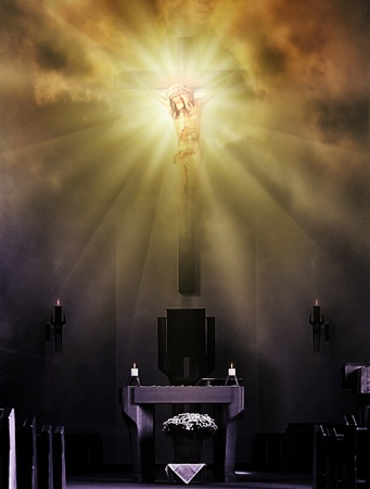 altar: Jesus Christ on the cross in bright light