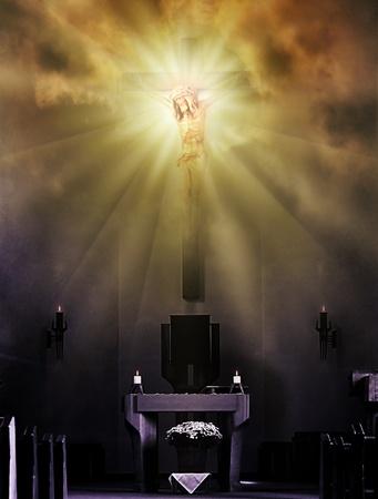 Jezus Christus aan het kruis bij helder licht