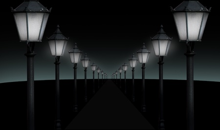 gas lamp: pathway with many streetlights in retro look design