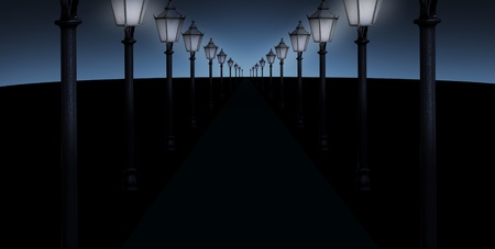 vanishing point: pathway with many streetlights in retro look design