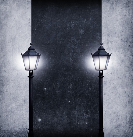 abstract pathway with many streetlights in retro look design photo