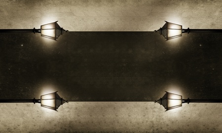 vintage power: pathway with many streetlights in retro look design