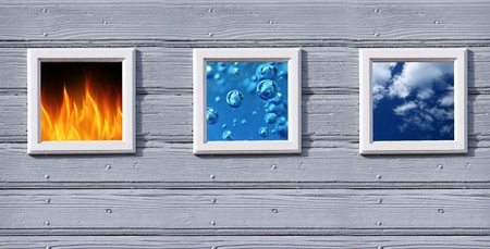 fire water and air in old wood frames photo