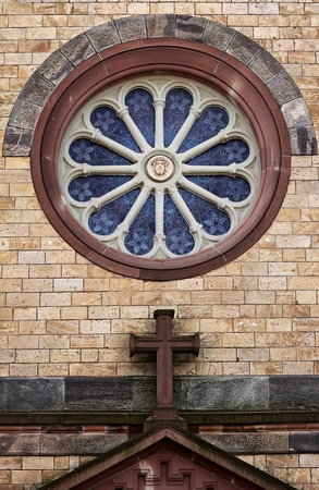 gothic design: old blue church window in retro gothic design