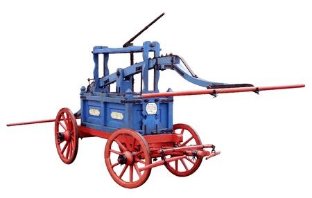 camion de bomberos: viejo motor de fuego azul en la nostalgia retro