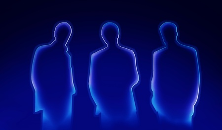 shadow show: abstract lighted silhouettes of three business men  Stock Photo