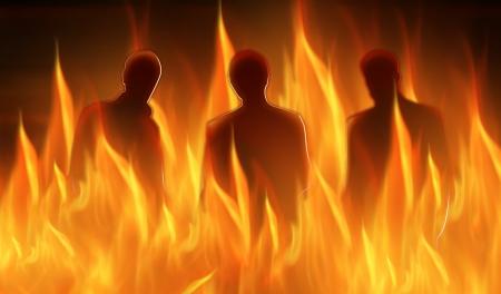 infierno: abstractos siluetas iluminadas de tres personas en el infierno