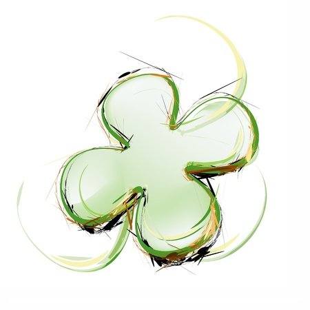 four leafed: Art illustration of a green clover leaf