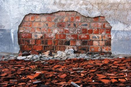 Vieux mur endommagé d'un immeuble ancien Banque d'images - 13049274