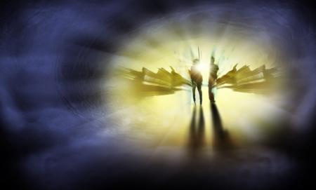 espiritu santo: Dos personas se encuentran en el camino a la vida eterna