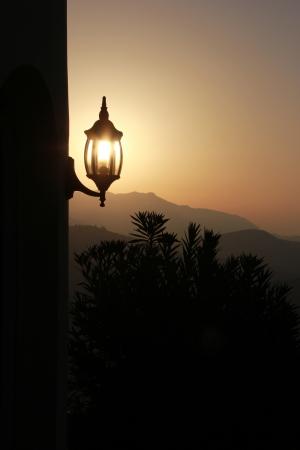 Lampe dans la matinée ensoleillée avec rétro-éclairage Banque d'images - 15236878
