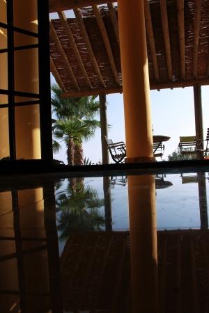 Belle vue avec sol en marbre et piliers avec des palmiers Banque d'images - 15236888