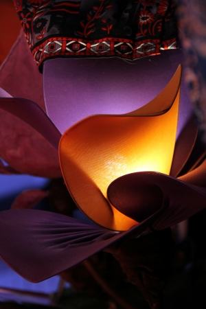 modern handmade design light with yellow and violet fabric Stock Photo - 15236885
