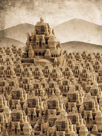 Château de sable avec grande multiples tours et créneaux en look rétro Banque d'images - 15301294
