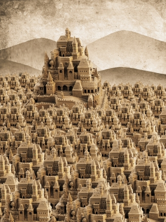 large sandcastle with many towers and crenels in retro look Stock Photo - 15301294