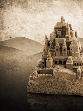 large sandcastle with many towers and crenels in retro look Stock Photo - 15301293