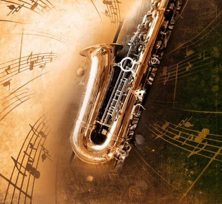 band instruments: Retro Sax with old yellowed texture background Stock Photo