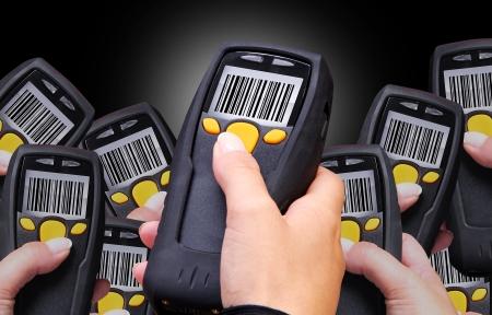 L'ordinateur de poche pour l'identification codes à barres sans fil balayage Banque d'images - 15678678