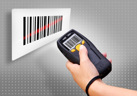 readers: Handheld Computer for wireless barcode scanning identification Stock Photo