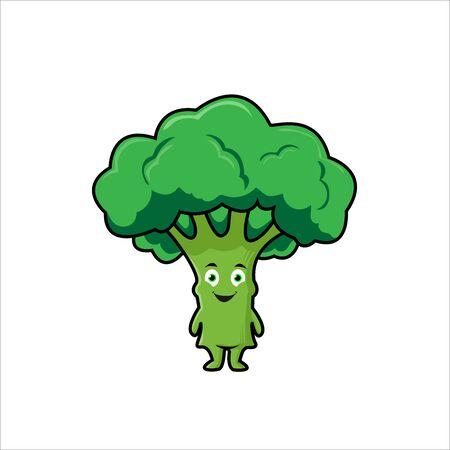 Organic farm cartoon broccoli vegetables with green stalks and lush heads Ilustración de vector