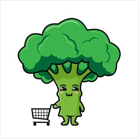 Organic farm cartoon broccoli vegetables with green stalks and lush heads  イラスト・ベクター素材