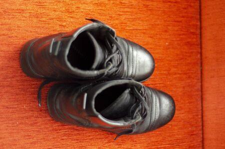 Old Black Leather Boots, Vintage