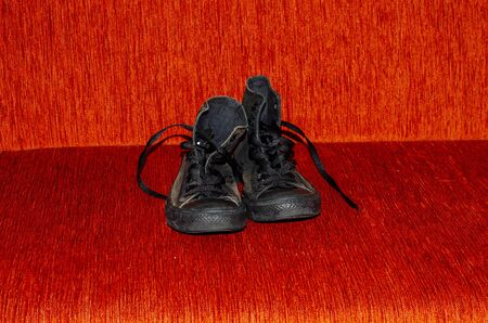 Ragged Black Stylish Shoes, Vintage Black Stylish Shoes Banque d'images