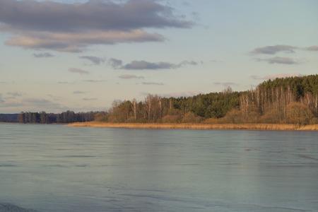 frozen lake: Frozen lake. Calm landscape, early spring. Stock Photo