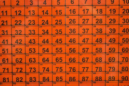Many numbers on an orange background